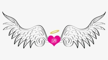 angel wings with b in heart